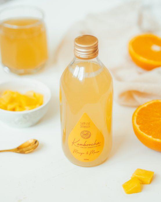 Kombucha mango maca pomeranč probiotika fermentovaný nápoj nepasterizovaná