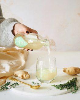 Kombucha zázvor bylinky máta meduňka citronová tráva aloisie citronová stévie probiotický perlivý nápoj nepasterizovaná raw nalévání do sklenice