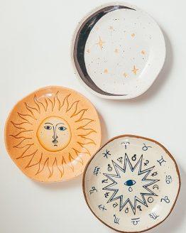 Kameninové keramické talíře slunce, zodiac