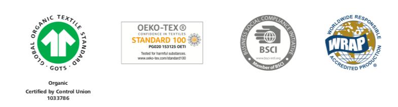 Certifikáty GOTS, BSCI, Oeko-Tex